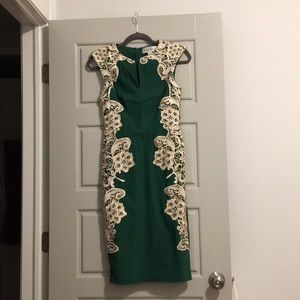 Green & lace cocktail dress